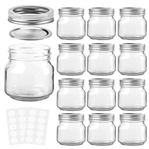 KAMOTA Mason Jars 8 oz With Regular Lids and Bands, Ideal for Jam, Honey, Wedding Favors, Shower Favors, Baby Foods, DIY Magnetic Spice Jars, 12 PACK, 20 Whiteboard Labels Included