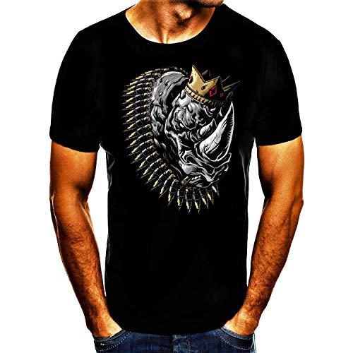 Nashorn Mit Krone Patronen Kette Spruch Fun Tshirt (5XL)