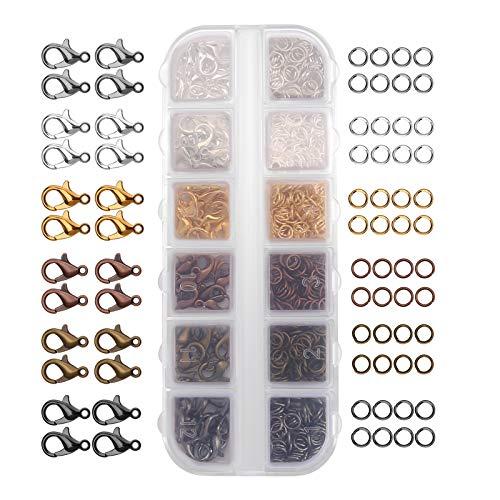 LUTER 6 Colores Mini Broches de Garra de Langosta y Kit de Anillos Abiertos para Hacer Joyas, Pendientes, Pulseras, Collares