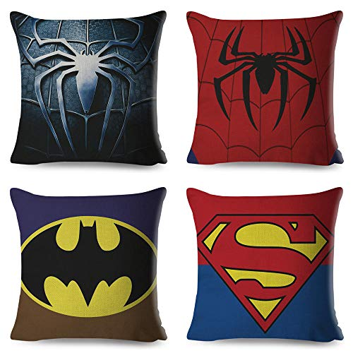 Pack de 4 cojines de Deadpool, Spiderman, Batman y Superman