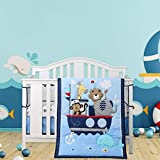 Wowelife Animal Baby Crib Sets Blue 7 Piece Monkey Elephant Lion and Giraffe Crib Bedding Sets Cotton(Sea Journey-7 Piece)