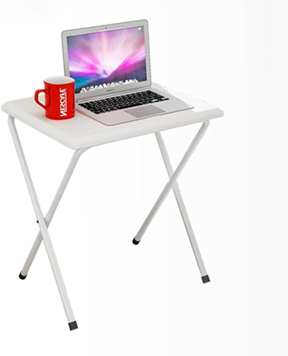 QFFL Table Folding Table Small Computer Desk Folding Book Desk Outdoor Portable Dining Table Multi-Function Table Lapdesks (color   White)