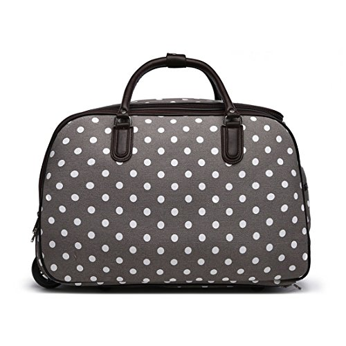LeahWard XL Holdall Travel Luggage Bags Trolley Luggage with Wheels 309 (L.Grey Dot Holdall)