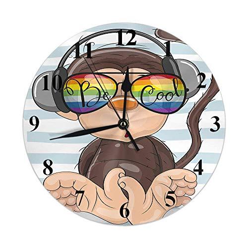 Reloj de mono de dibujos animados lindo mono marrón con gafas de sol arcoíris en rayas blancas azules Reloj de pared redondo Slient sin tictac rústico decoración del hogar 10 pulgadas para cocina baño