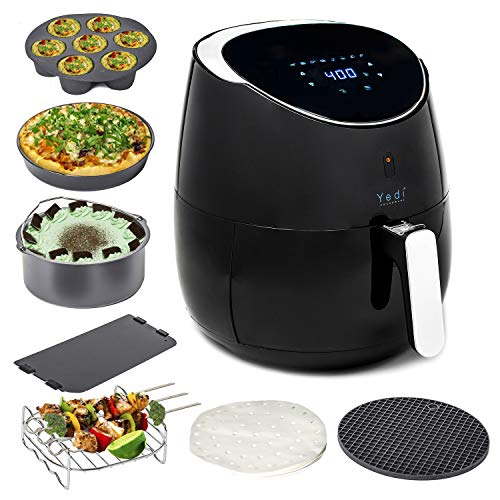 Lowest Prices! Yedi Total Package Ceramic Air Fryer, 3.7 Quart, Ceramic Deluxe Accessory Kit, Recipe...