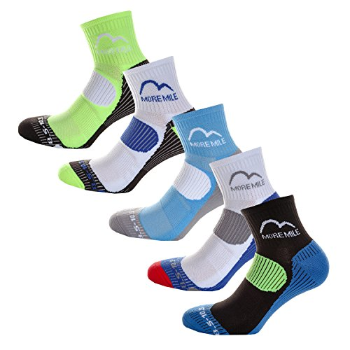 More Mile London (5 Pair Pack) Mens Cushioned Running Socks , Multi-coloured, UK 11-13
