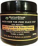 Savon Noir Gommage 250g, Huile d'Argan et Fleur d'Oranger - 100% NATUREL Gommage au...
