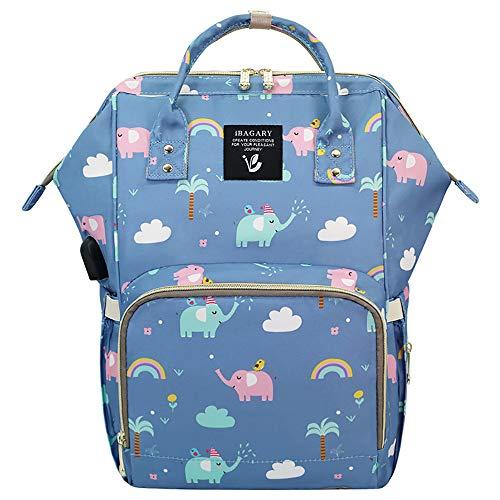 Essfeeni Elephant Baby Diaper Bag Backpack Waterproof Insulated USB Large Boy Diaper Bag Backpack for Mom (Elephant)
