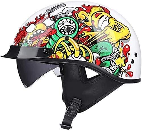 Retro Motorcycle Half Helmet Motorbike Jet Helmet Open Face Motorcycle Half Helmet DOT/ECE Approved with Sun Visor Cruiser Scooter Half Helmet for Adult Men Women