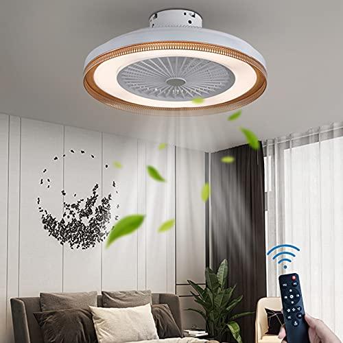 Redondo Lámpara de Techo Con Ventilador LED Silencio Ventilador de Techo Con Iluminación Regulable 36W Fan Luz de Techo Control Remoto Iluminación de Techo Para Cuarto Sala de Estar Comedor