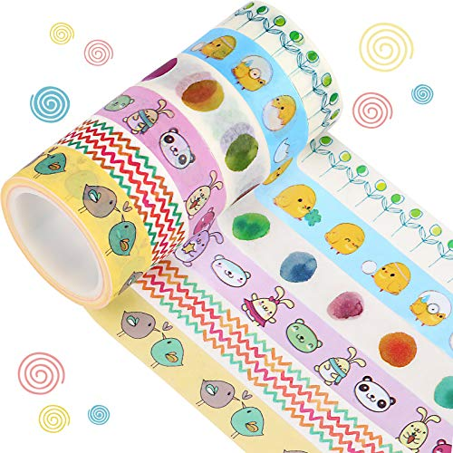 6 Rolls Heart Rainbow Lucky Washi Tapes Bunny Animal Decorative Tapes Moustache Craft Masking Tape for Wedding Home Party Decors, Scrapbooking, Envelopes, Wrapping Crafts (Animal)