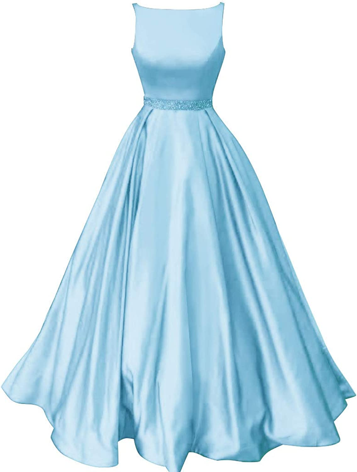 Staypretty Prom Dresses Boat Neck Satin Beaded Aline Ruffled Formal Women Evening Party Gown