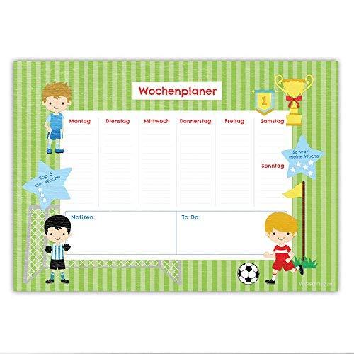 Bureauonderlegger uil voor kinderen - DIN A2 (59,4 x 42 cm) van papier - met 25 vellen - beschrijfbaar - voor het plannen van de week - van Papierdrachen Voetbal