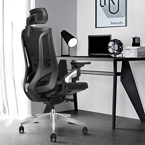 MIISLAIN Ergonomischer Mesh-Bürostuhl mit hoher Rückenlehne und Neigungsbeschränkungsvorrichtung | 4D verstellbare Armlehne | Verstellbare Kopfstütze | Verstellbare Lordosenstütze