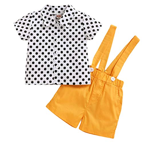 Borlai baby jongen kleding pak Polka gestippeld shirt + Suspenders linnen korte broek broek - 2 stks/pak 3-4T Geel