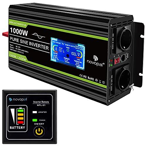 NOVOPAL Inversor de Corriente de Onda Sinusoidal Pura 1000W Convertidor DC 12V a AC 220V 230V con Pantalla LCD-un Puerto USB-Control Remoto de 5 Metros & Ventiladores de refrigeración