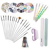 Nail Art Design Kit, Joeyer 37 Piezas Nail Art Kit Herramientas - Pinceles para Pintar Uñas, Uñas de Estrás, Pinceles de Punto Accesorios de Decoración de Uñas