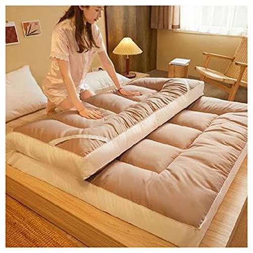 HFAFRZ Colchón de futón japonés, grueso Tatami, colchón de suelo, cama de suelo, plegable, portátil, para camping, para todo el año, caqui, 200 x 220 cm