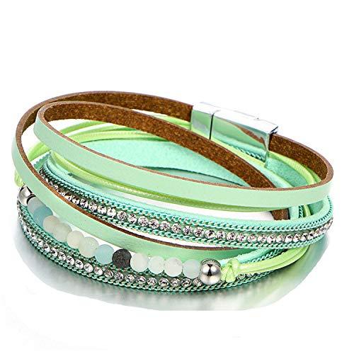 Tea language Stone Leather Bracelet 2019 for Woman Multiple Layers Charm Bracelets Bangles Jewelry Party