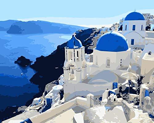 Malen nach Zahlen für Erwachsene Griechenland - DIY Malen nach Zahlen - Set für Anfänger inklusive vorgedruckter Leinwand, 3 Pinseln und bunten Acrylfarben