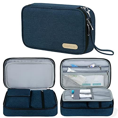 Bolsa Diabética, Simboom Bolsas de Viaje para kit de control de la Diabetes, Doble Capa Bolsa para Monitor de glucosa en sangre, Tiras de prueba, Dispositivo de Punción (Solo Bolsa) - Azul
