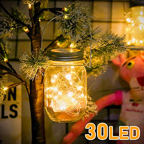 Molbory Solar Mason Jar Licht, 30 LED String Licht Außen Wasserdichte Glasgläser Garten Hängeleuchten, LED Weihnachtsbeleuchtung Lichterkette für Party, Hochzeitsdekoration (Warmweiß)