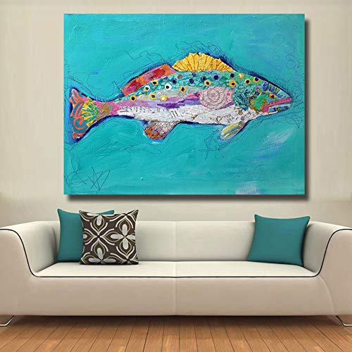 N / A Fish Swimming Oil Painting On Canvas Used for Pictures On Living Room Posters, Court Decoration Murals Frameless 12x16 cm