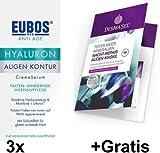 Eubos Hyaluron Augen Kontur Spar-Set 3 x 15 ml + Gratis Nacht-Repair Augen Maske. Falten minderndes Creme-Serum Bioaktive Hyaluronsäure & Matrikine + Liftonin.von Dermatologen empfohlen