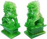 Un par de estatuas de león guardián de perros Fu Foo de 4.1 in (H) La mejor felicitación de inauguración de la casa para protegerse de la energía maligna Decoración Feng Shui Símbolo de riqueza y pros