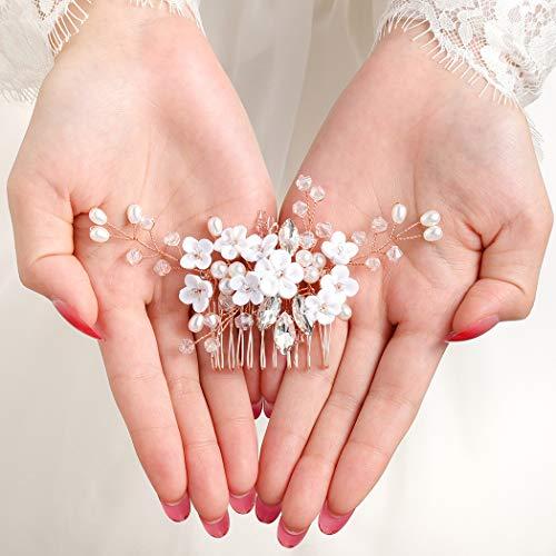 IYOU Haarschmuck, Prinzessinnen-Blumen-Design, Kristall- und Perlenschmuck, für Mädchen und Frauen. (2 Stück)