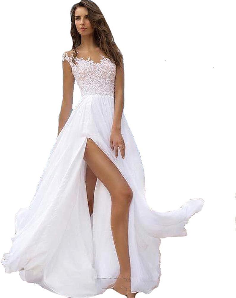 SIQINZHENG A Line Chiffon Formal Evening Dresses Long White Beach Dress