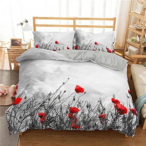 Sängkläder Dubbelsäng Sängset 200x200cm med två örngott tryckta dubbla täcken set Mjukt allergivänligt täcke av mikrofiber Rött mode blomma ros Dubbel