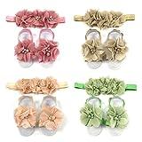 ALLYDREW Baby Girl Barefoot Flower Sandals & Headbands Set Chiffon Flower Baby Sandals - Autumn (set of 4)
