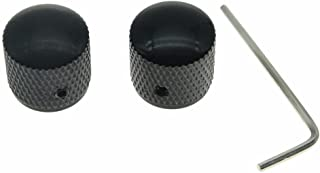 Dopro Set of 2 Guitar Dome Knobs 20mm Bass Knobs with Set Screw for Tele Telecaster P Bass Precision Bass Black