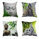 Puurbol 4pcs Buda Bambú Fundas de cojín Lino 45x45cm Lino Dormitorio Dormitorio...