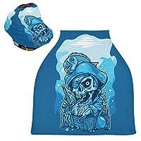ブルーアート海賊頭蓋骨魚ベビーカーシートカバー、キャノピー看護カバー、幼児の授乳の男の子のためのソフト通気性防風スカーフチェンジパッド