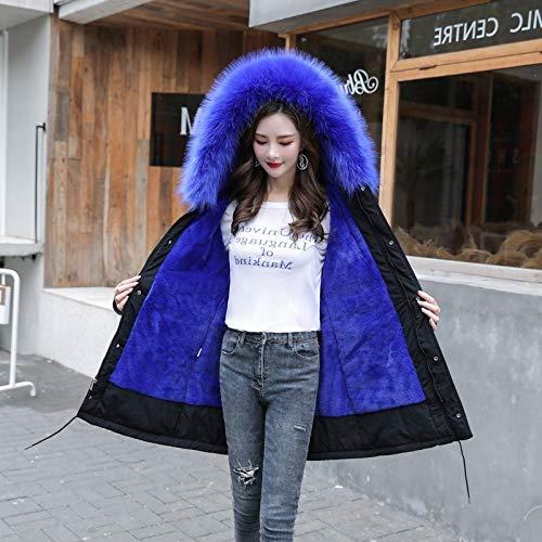 JNXFUZMG 2020 Parkas con Capucha para Mujer Tallas Grandes 6XL Espesamiento Abrigo de algodón Mujer Larga Long Slim Winter Chaqueta Mujer Parkas Outwear (Color : Sapphire, Size : XXXXXX-Large)