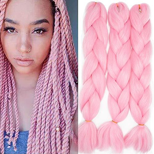 "24"" Braids Extensions Jumbo Braids Kunsthaar 3 Bündel Kanekalon Synthetik Crochet Hair Flechthaar Afro Box Braiding (Rosa)"