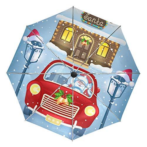 Petit Parapluie de Voyage Coupe-Vent extérieur Pluie Soleil UV Auto Compact 3 Plis parapluies Couverture - Santa Claus Vintage lampadaire Voiture Rouge