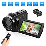 QIPEXEII Video Camera Camcorder with 32GB Card Full HD 1080P 30FPS Digital Camera Vlogging Camera for YouTube 3.0 Inch LCD 270 Degrees IPS Screen LED