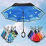 Paraguas plegable De peso ligero impermeable Paraguas inversa doble paraguas invertido resistente a la intemperie paraguas mojado El coche cuerpo femenino modelos no son la celebración de paraguas a p