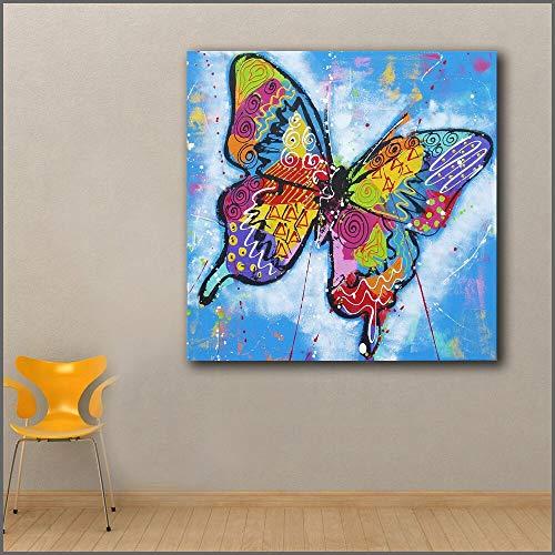 Groot olieverfschilderij pop art kleurrijke vlinder muursticker canvas en slaapkamer foto frameloze schilderij 70x70cm