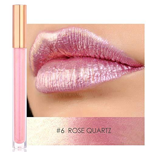 【𝐑𝐞𝐠𝐚𝐥𝐨】Brillo de labios ingrávido de larga duración, sin irritación Lápiz labial líquido metálico pesado, a prueba de agua Embellece tus labios Maquillaje diario Chicas(#6)