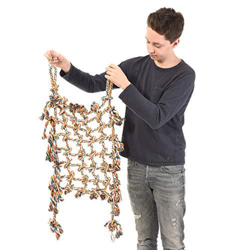 HappyBird ®   Papageienkletternetz XL - Kletternetz für Papageien buntes Netz aus Baumwolle