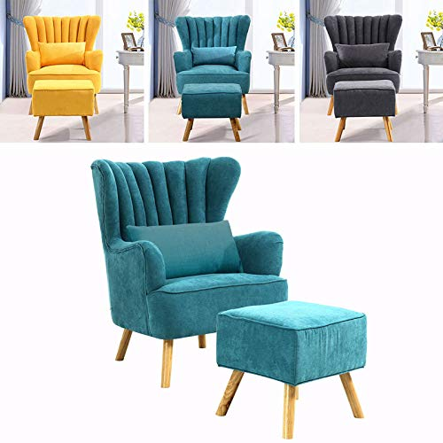 INMOZATA Armchair with Footstool Teal Linen Fabric Occasional Accent Chairs Stunning Shell Wingback Tub Chair with Wood Legs for Living Room Bedroom Lounge (Teal)