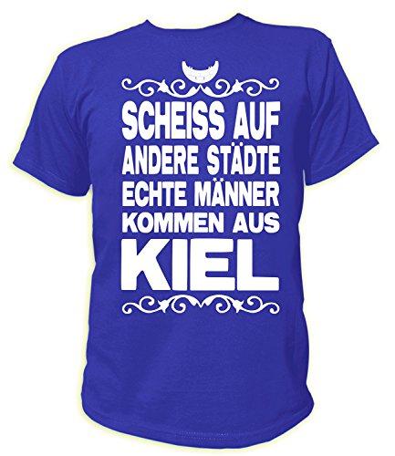 Artdiktat Herren T-Shirt Scheiß auf andere Städte - Echte Männer kommen aus Kiel Größe XXXL, blau