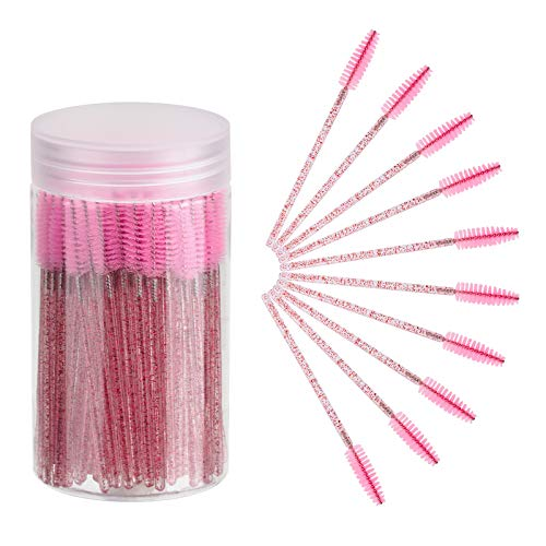 CHEFBEE 100PCS Disposable Eyelash Brush, Mascara Wands Makeup Brushes Applicators Kits for Eyelash Extensions and Eyebrow Brush with Container (Pink)
