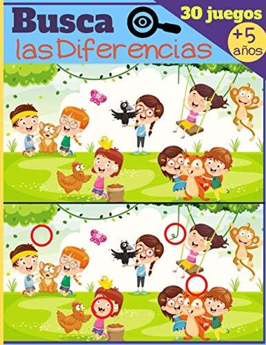 Buscar las Diferencias - 30 Juegos: A partir de 5 años - Libro de juegos para niños, libro de actividades con 7 a 11 diferencias por imagen - GRAN FORMATO Y SOLUCIONES