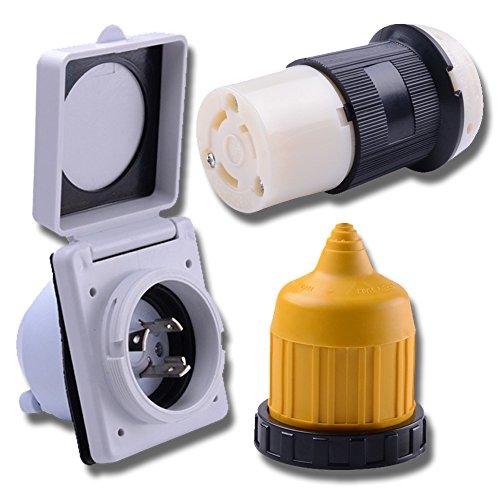 LeisureCords 30 AMP RV Trailer Marine Power Cord Power Inlet - Female Twist Locking Connector - Weatherproof Boot Kit