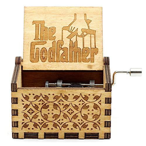 Hölzerne Spieluhr Holz Handkurbel Graviert Musikbox Vintage Hochzeit Valentinstag Weihnachten Geburtstagsgeschenk - The Godfather